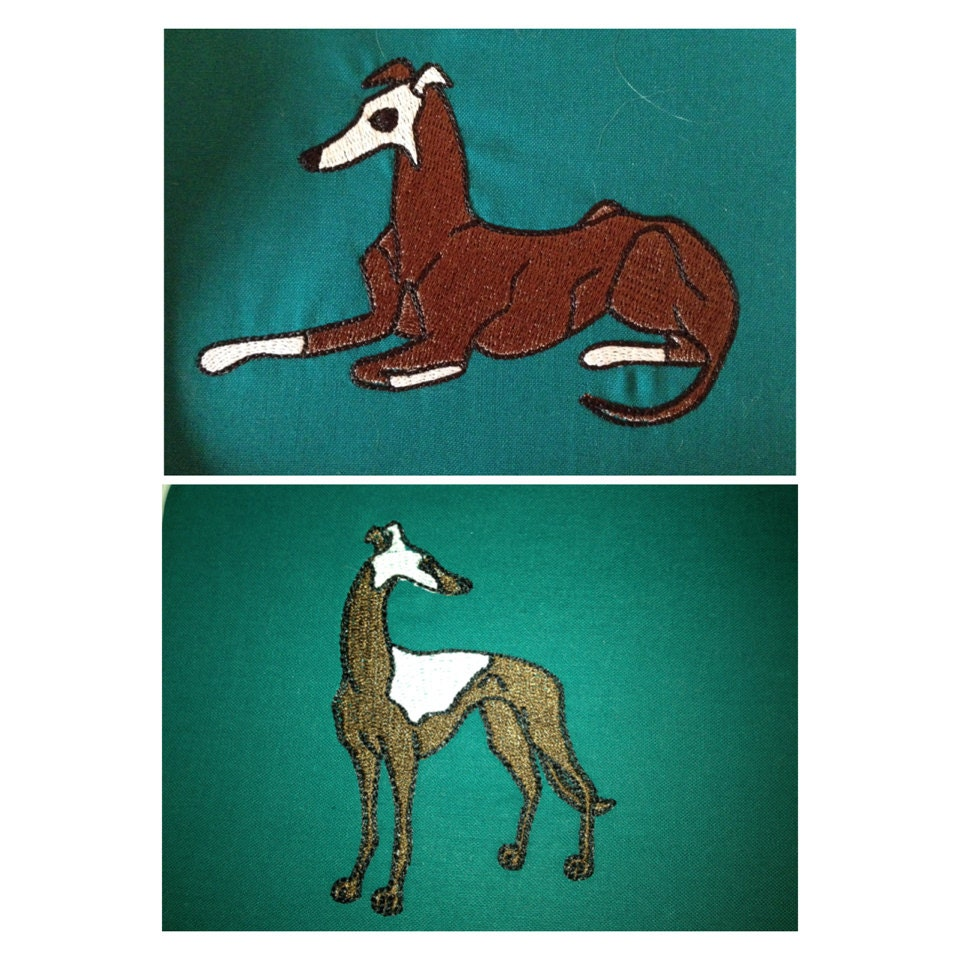 Items Similar To Greyhound Dog Machine Embroidery Designs For 4x4 Hoop 2 Designs On Etsy