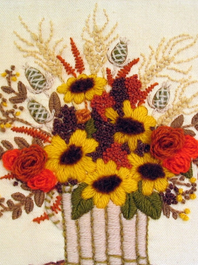 Crewel Embroidered Floral Picture in Yellow, Orange, Olive  and Rust Vintage 1970's