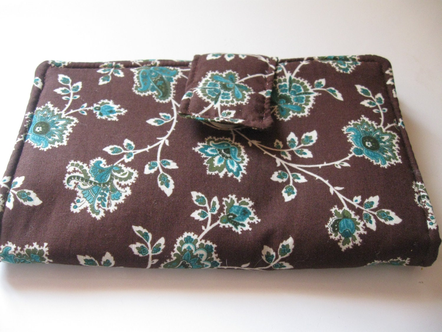 Brown Teel Print Large Wallet with eight card holders and two money sections made of cotton fabric