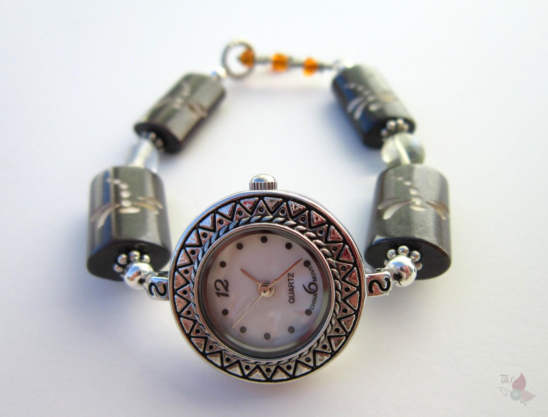 Carved Wood Watch with Lemon Smokey Quartz Beads