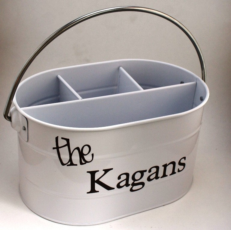 Personalized Silverwear Caddy - White with your choice of vinyl