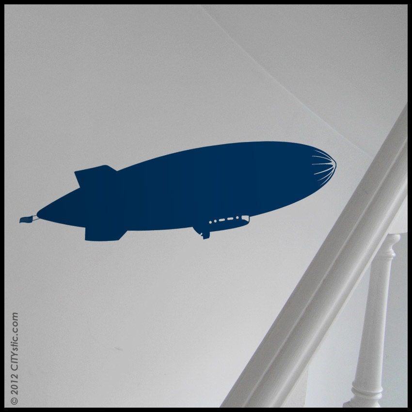 KIDS - Flying Zeppelin in the air (with cabin and flag) Old fashion - WALL DECAL