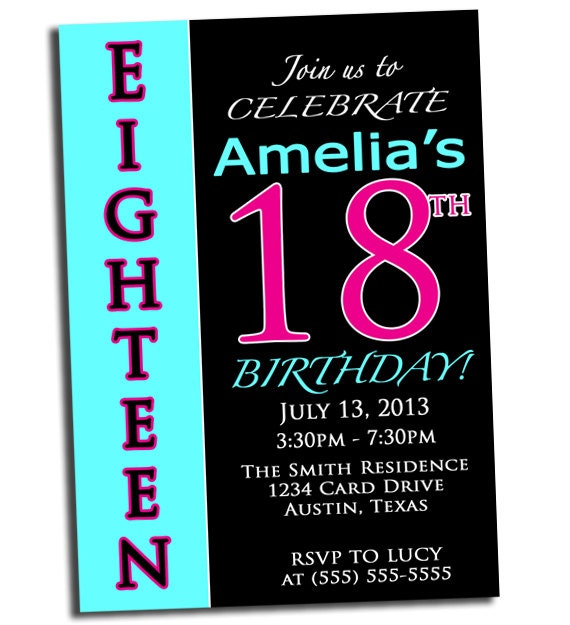 Items similar to 18th Birthday Party Invitation Pink Black and Aqua Customized 5x7 Digital ...