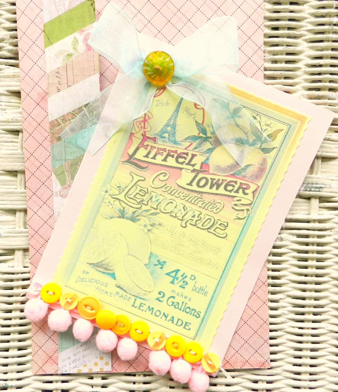 vintage paris greeting card - french card - shabby chic card - friendship card - handmade card - SouthernShabbyGal