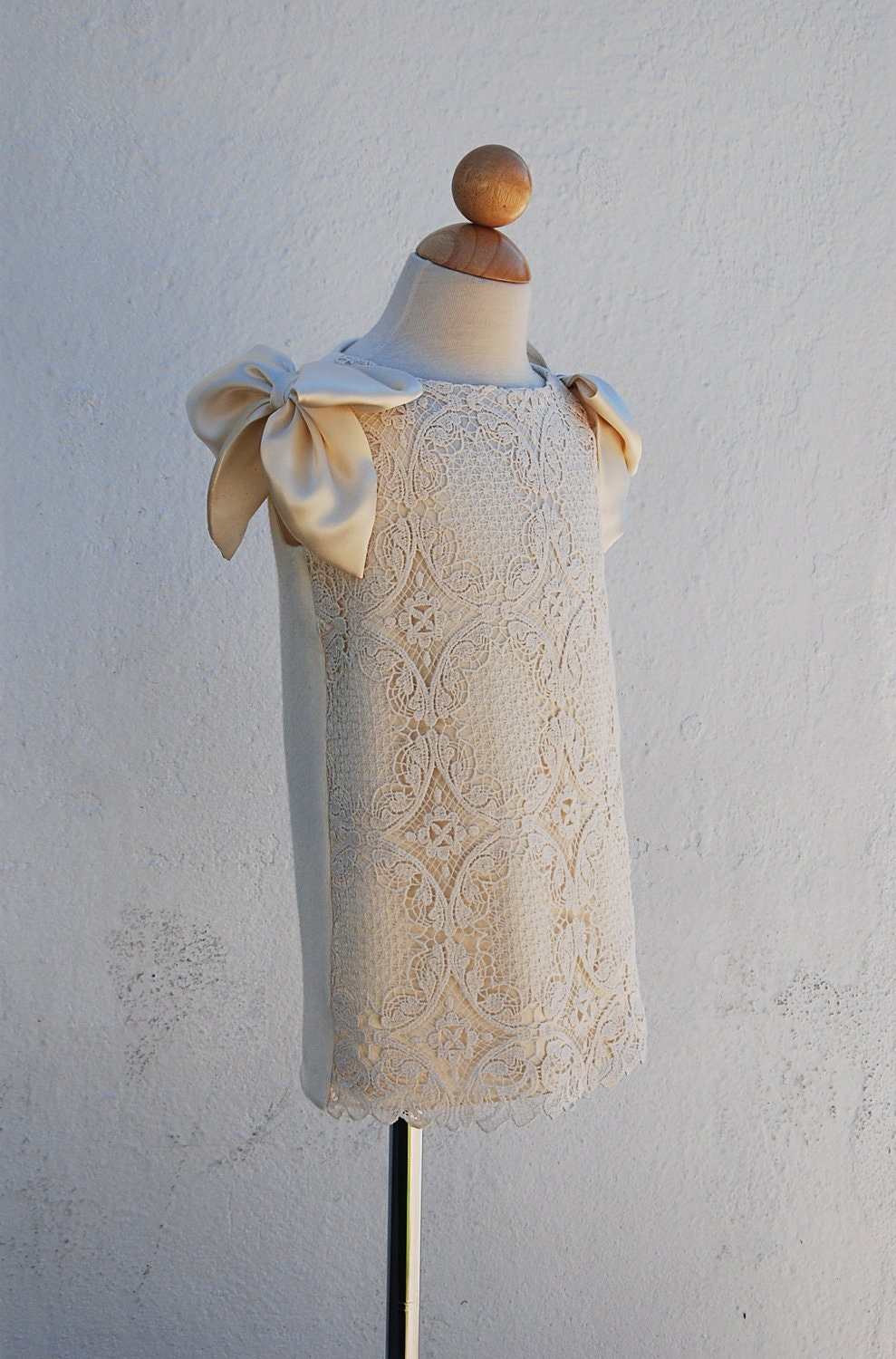 "Flower Girl Dress, Upcycled Cotton Lace, Silk Charmeuse and Cashmere, One-of-a-Kind, knee-long ""Ivory Softness"" size 2, Ready-to-Ship"