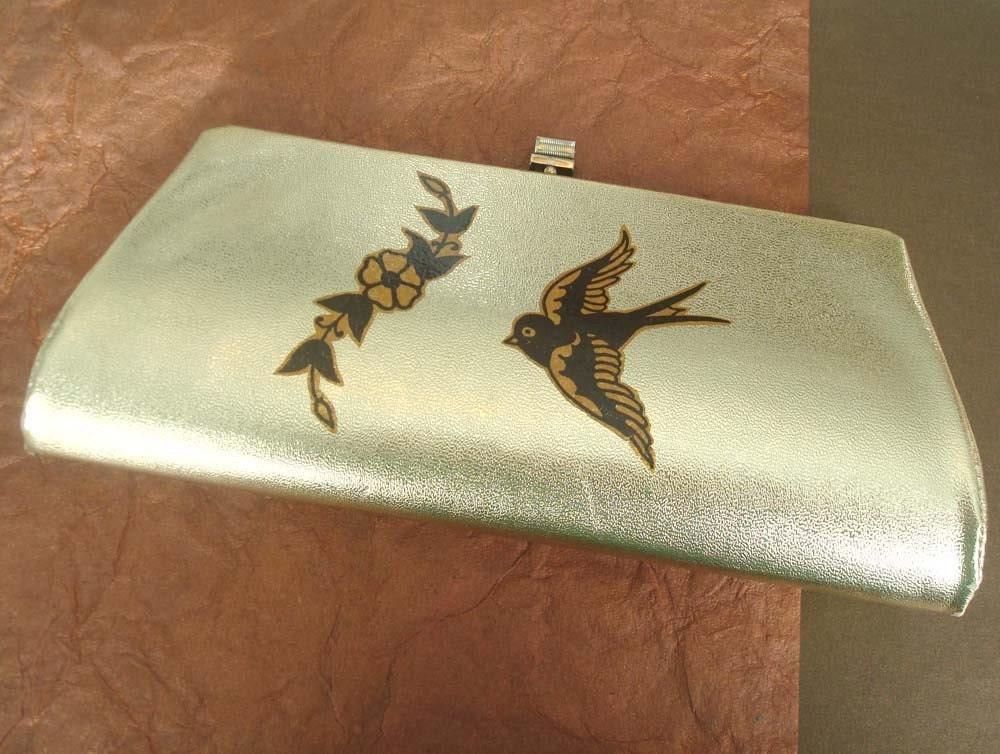 Vintage Metallic Gold Tattoo Flash Purse or Clutch. From JukeJointJumpin