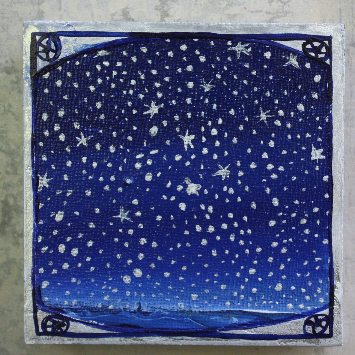 "Stars over water 4"" square - roseymorris"