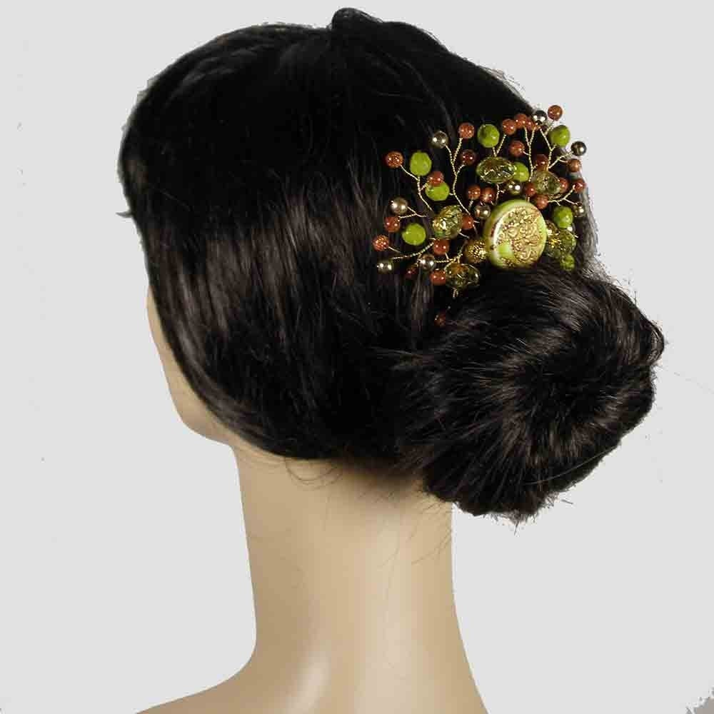LIME CRYSTAL Green and Brown Glitter Beaded Hair Comb with Gold Wire