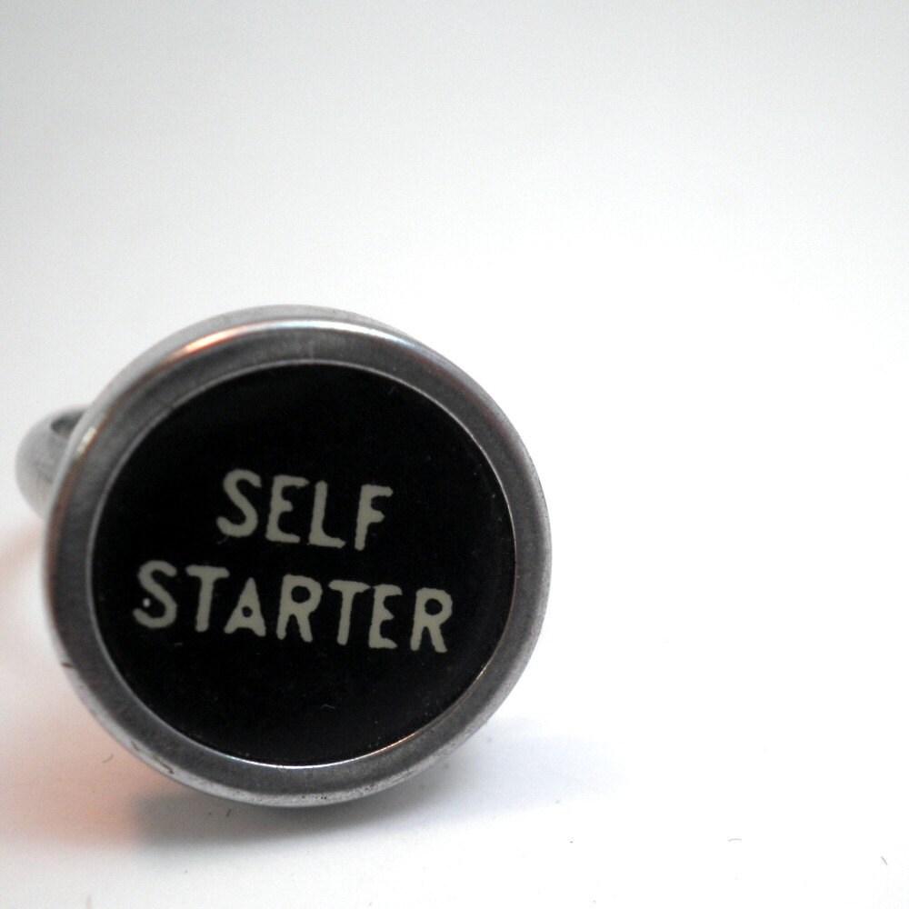 Vintage Typewriter Ring - Self Starter - RARE - Adjustable