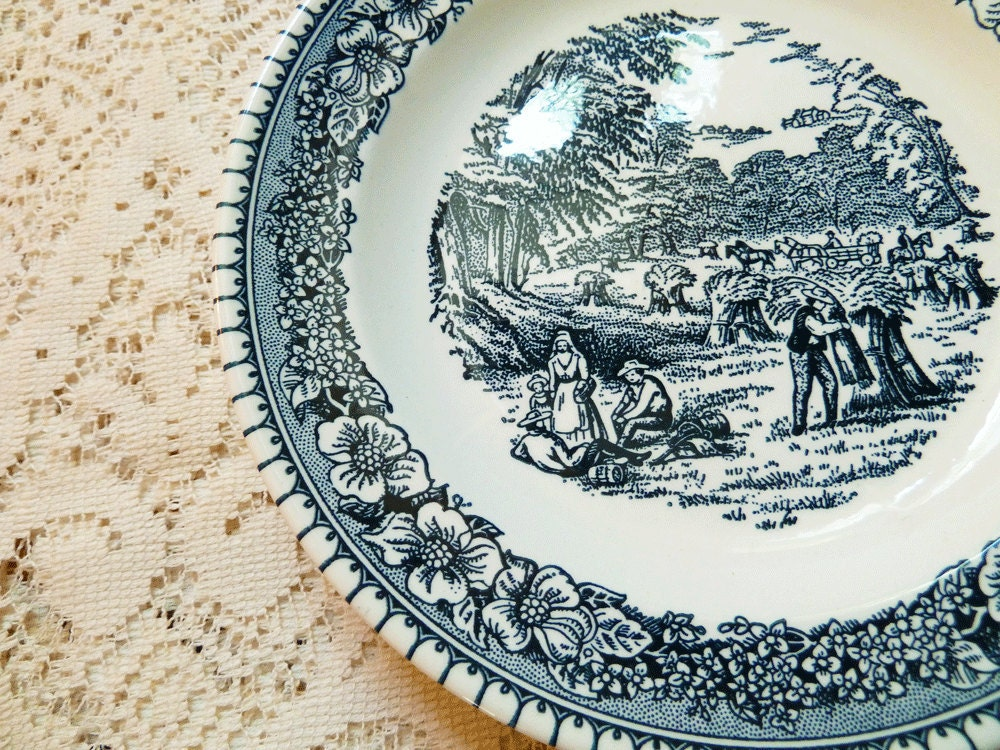 Vintage Ironstone Small Plates Dishes, Set of 5, for Desserts or Sandwiches with Blue and White Farming Pattern