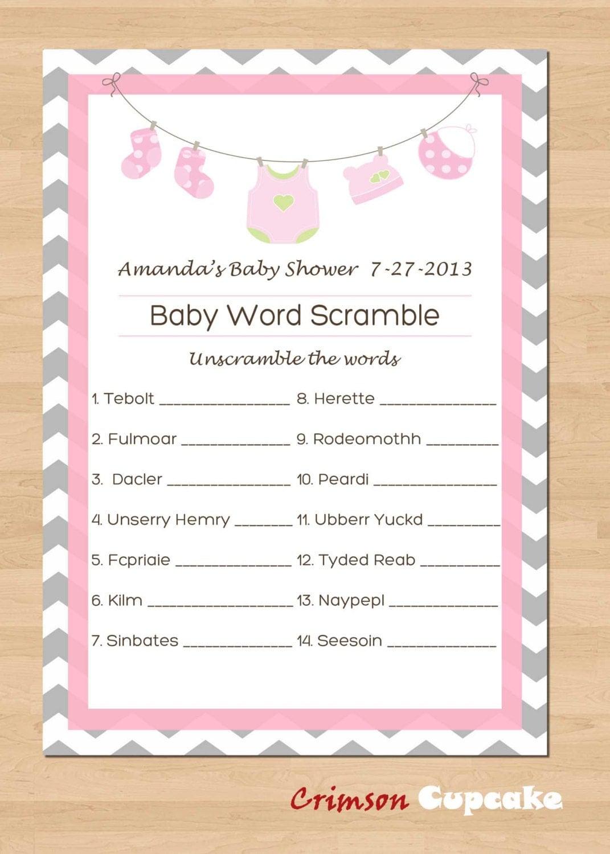 Printable Baby Shower Game Word Scramble Custom Game Girl Pink DIY