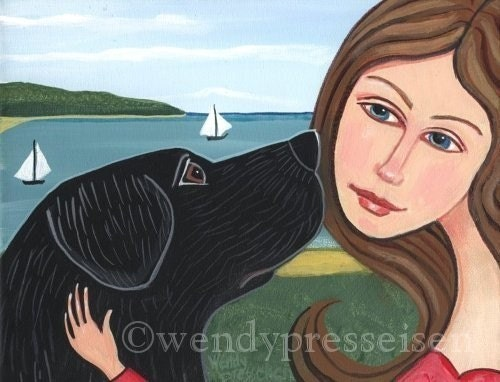 8 1/2 X 11 - GIRL and DOG PRINT Best Friends BLACK LAB Signed FOLK ART POSTER Wendy Presseisen BEACH SEA