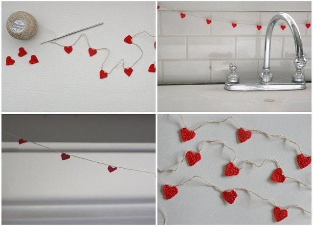 mini hearts crocheted garland