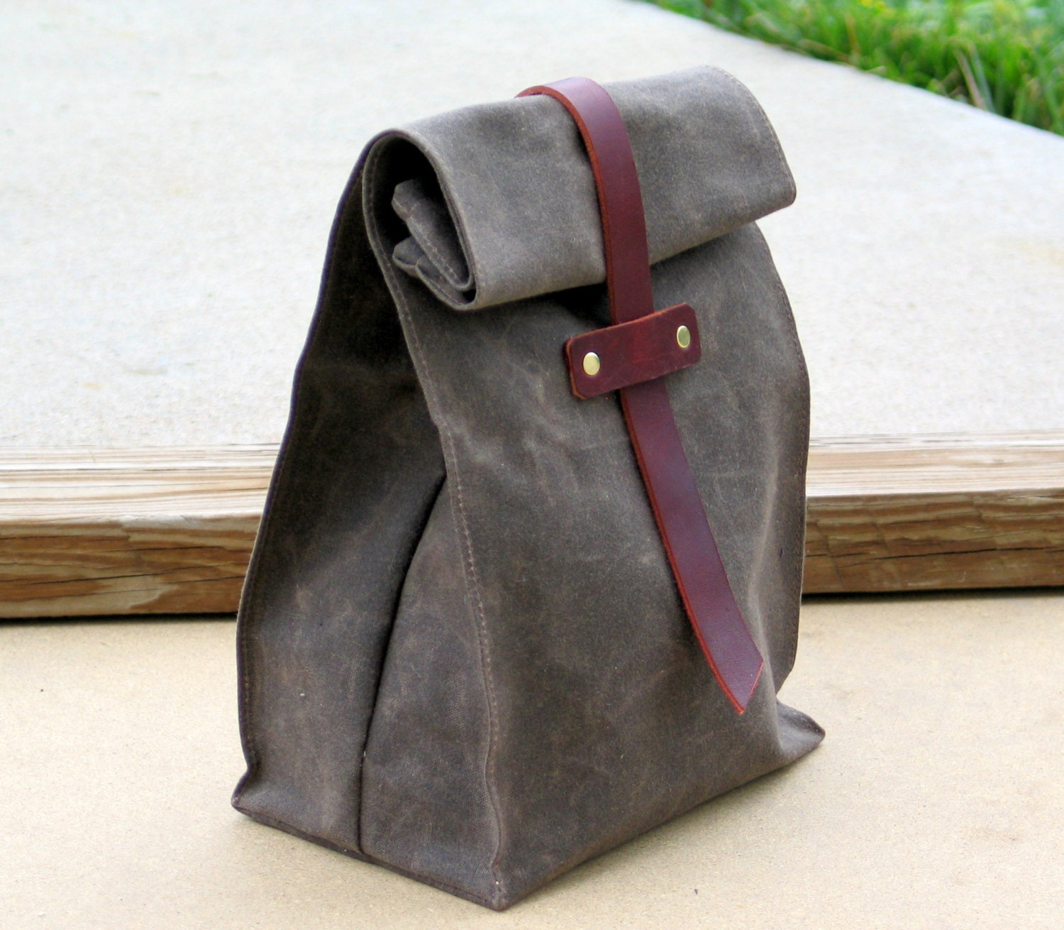 Waxed Canvas and Leather Lunch Tote Waxed Canvas Lunch Bag - Zakken