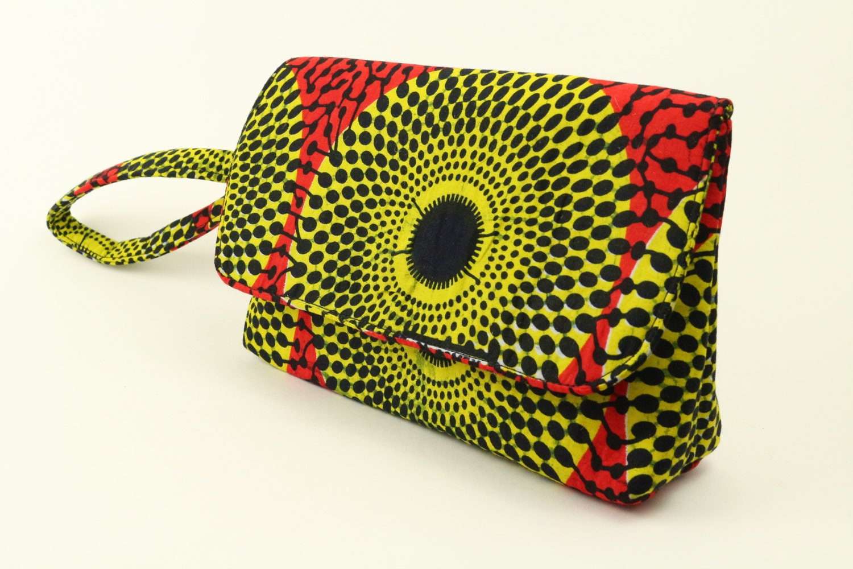 Yellow Record African ClutchWristlet 100 Cotton Ankara Clutch African Hand Bag African Wax Ankara Clutch Hang bag Handbag