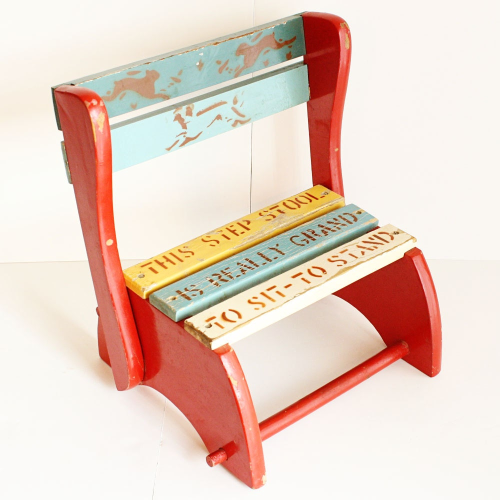 Vintage step stool chair - Vintage Step Stool Kids Bench Kids Chair By Oldcottonwood