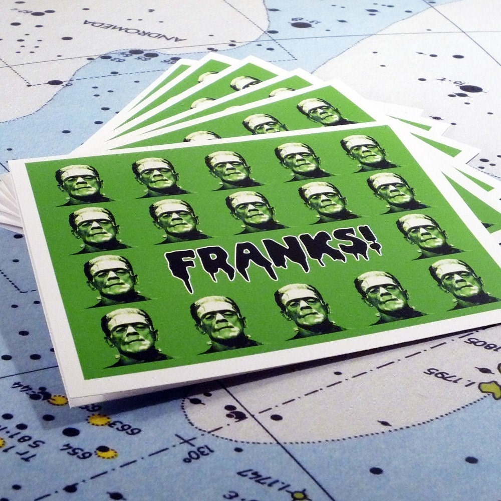 Franks set of 6 thank you cards and envelopes by theRasilisk from etsy.com