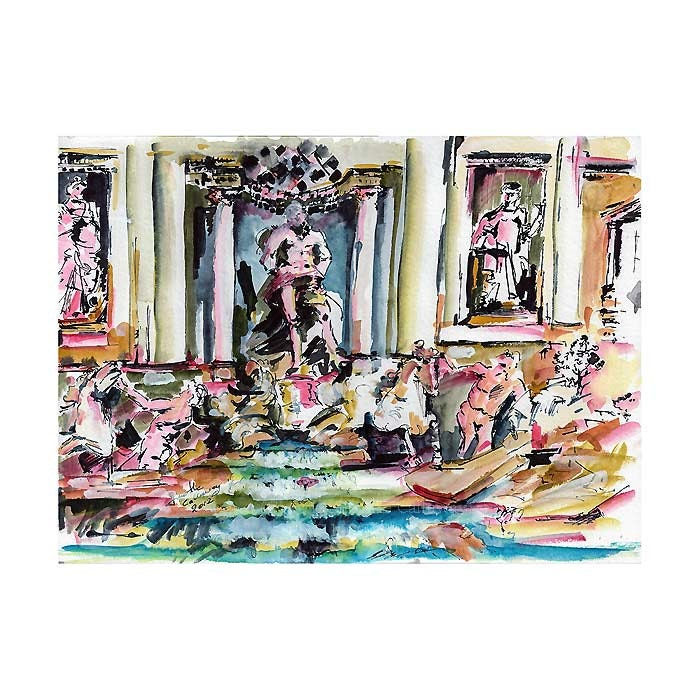 Trevi Fountain Rome Italy Original watercolor and Ink Study 11 by 15 inch by Ginette