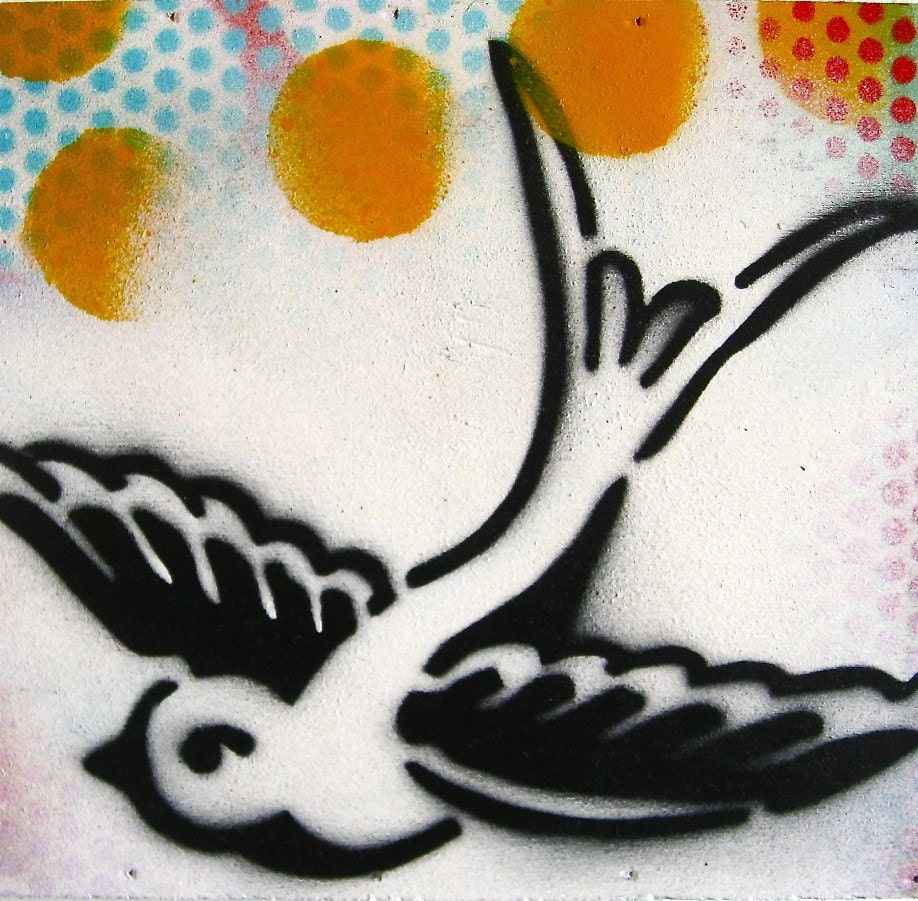 Swallow... Original Graffiti Stencil Style Painting on Wood Box