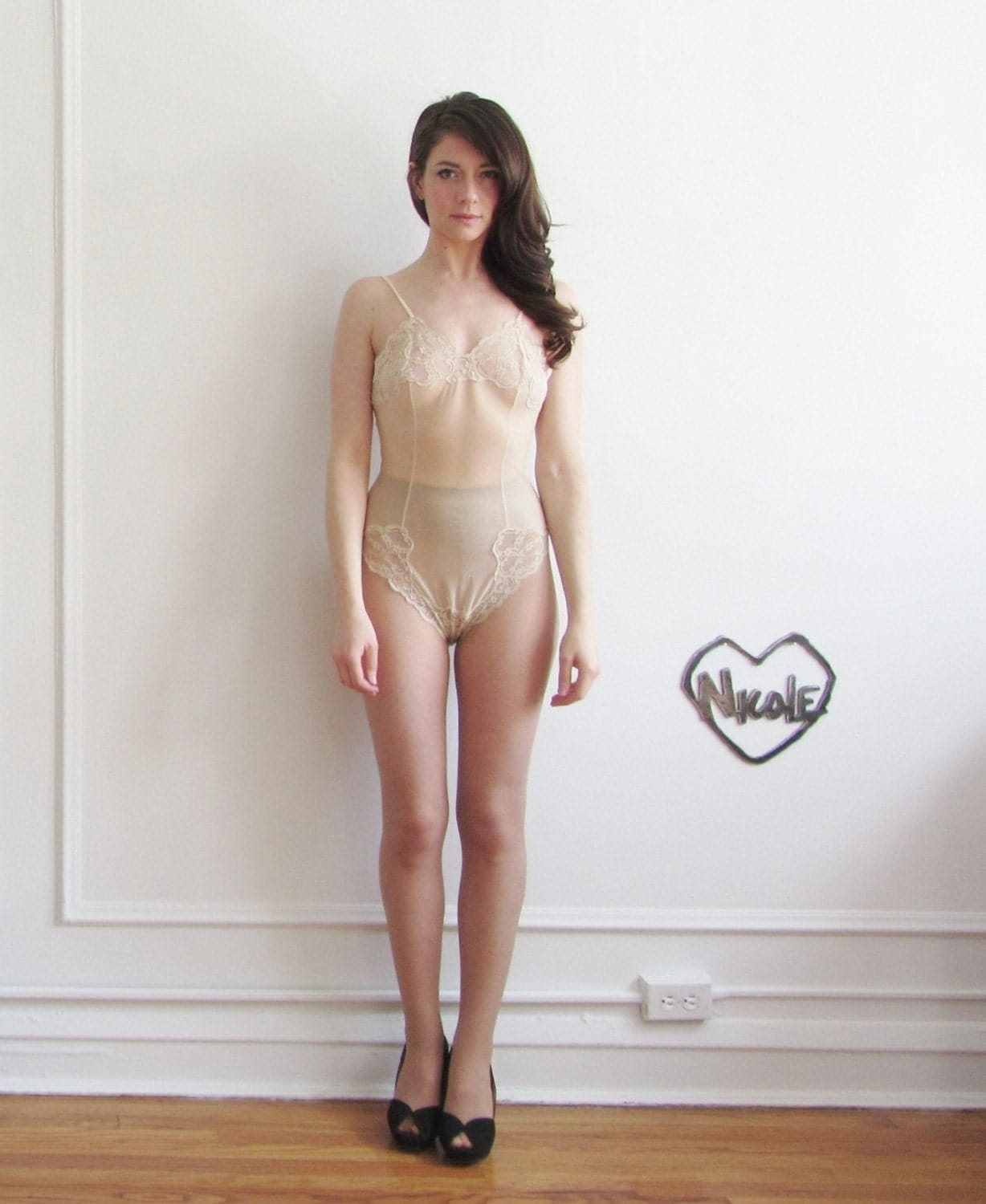 Nude Sheer Lace Teddy . 1960 See Through Lingerie .extra