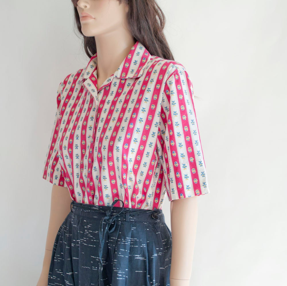 Vintage 60s FOLK STRIPE Blouse by MariesVintage on Etsy from etsy.com