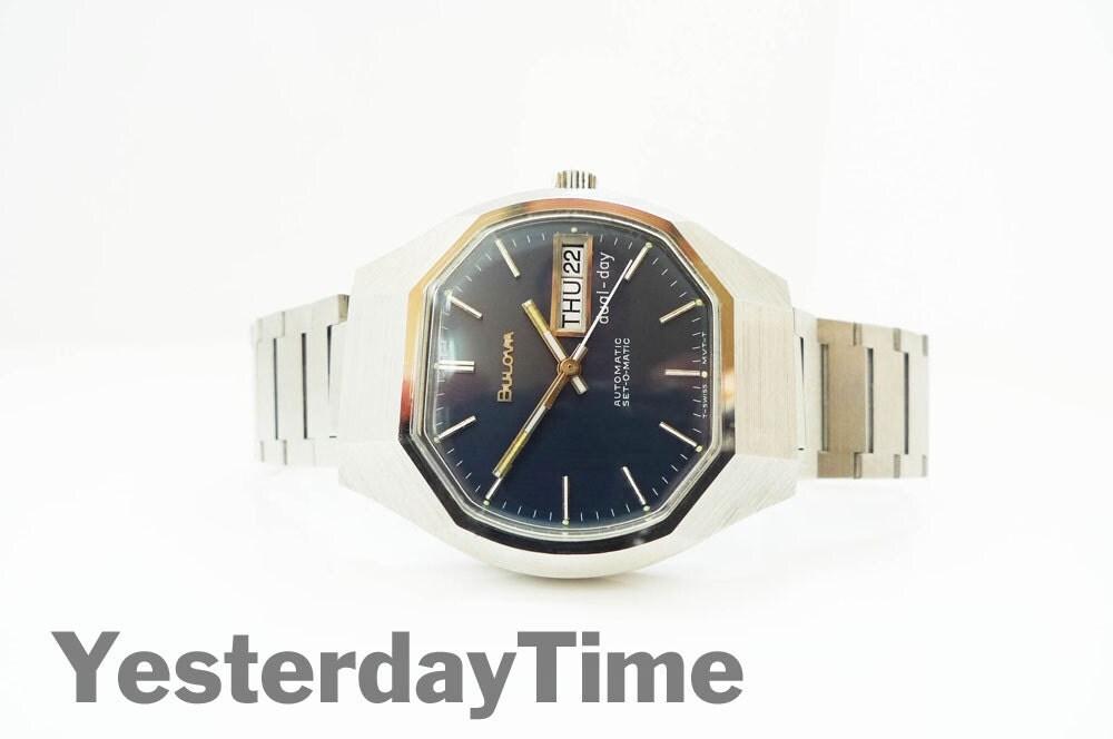 Bulova SetOMatic Mens Watch 1977 Swiss Made 17 Jewel Automatic Movement Stainless Steel Case