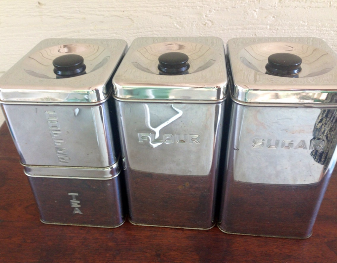 vintage 50s metal kitchen canister set by somo on etsy