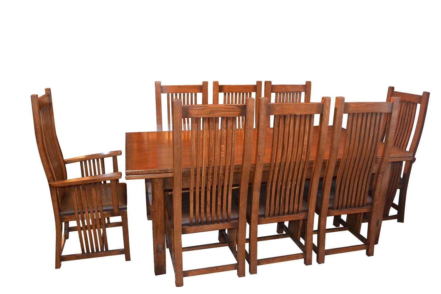 Arts And Crafts Mission Oak Dining Table With 2 By