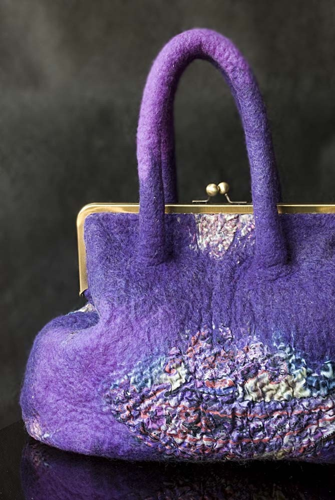 Felt wool violet pink purple nuno silk handbag 'At other end of rainbow'