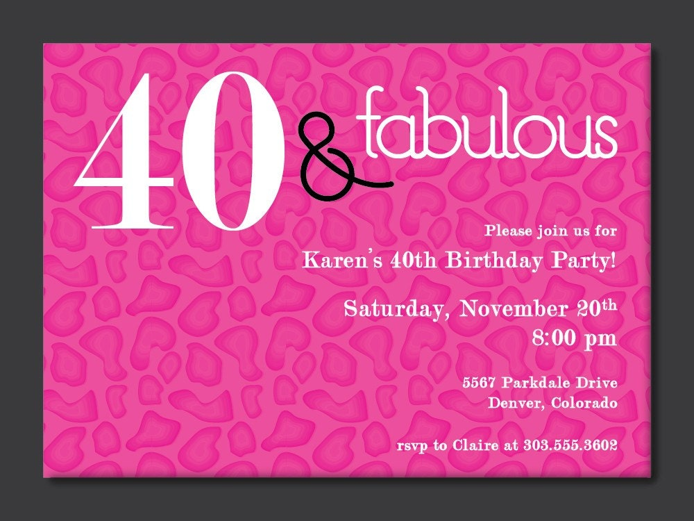 printable 40th birthday invitations