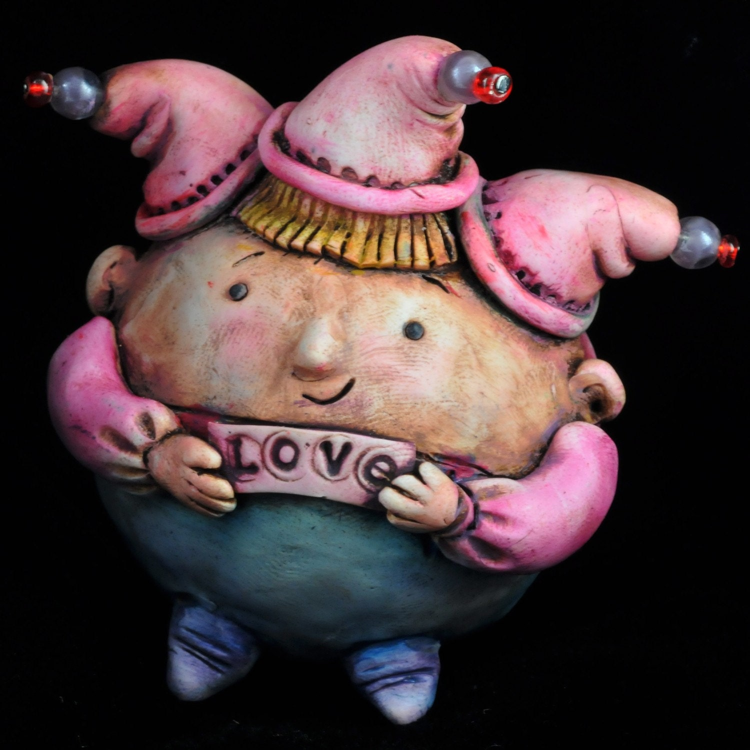 Sweet Love Jester Valentine sculpture/ free shipping