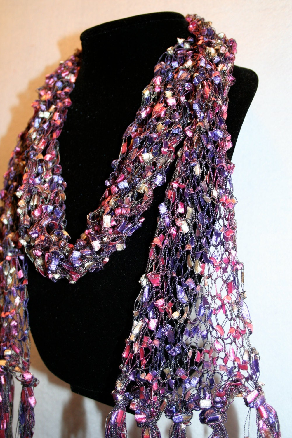 Items similar to Hand Knitted Pink and Purple Ladder Yarn Scarf on Etsy