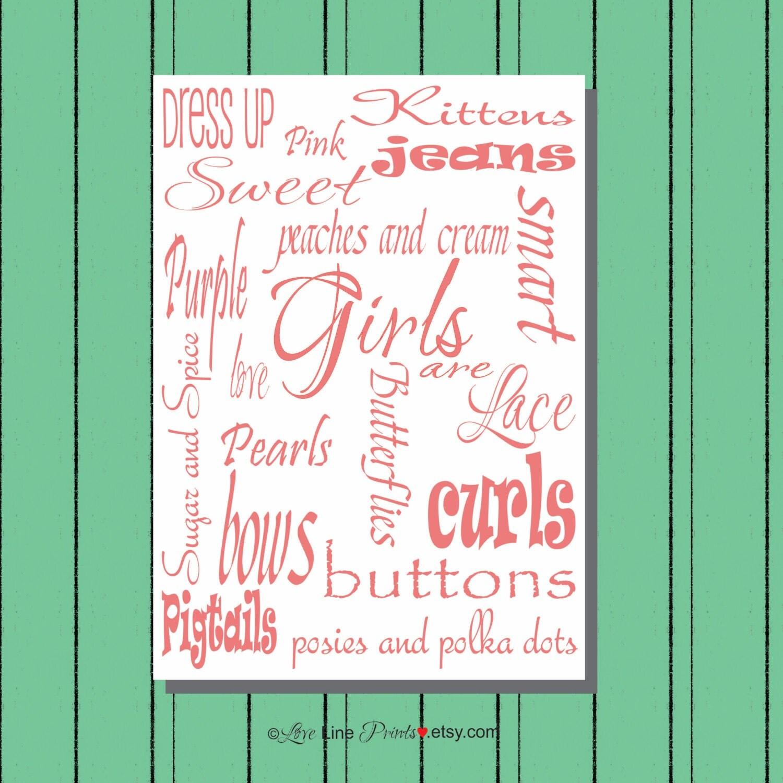 Nursery wall art little girls room art girls by lovelineprints for Signs for little girl rooms