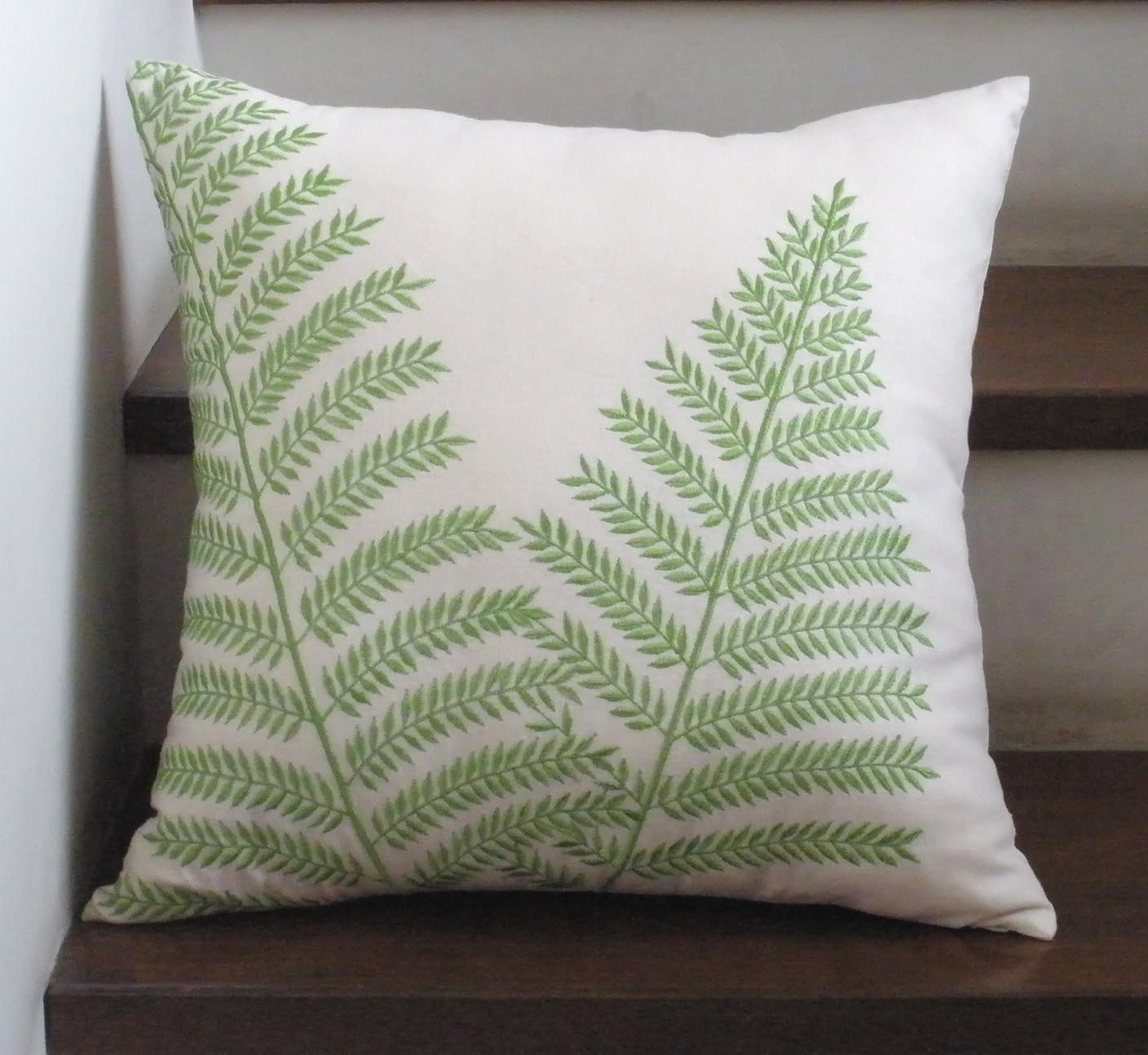 Beige and Green Fern Embroidery  Pillow Cover