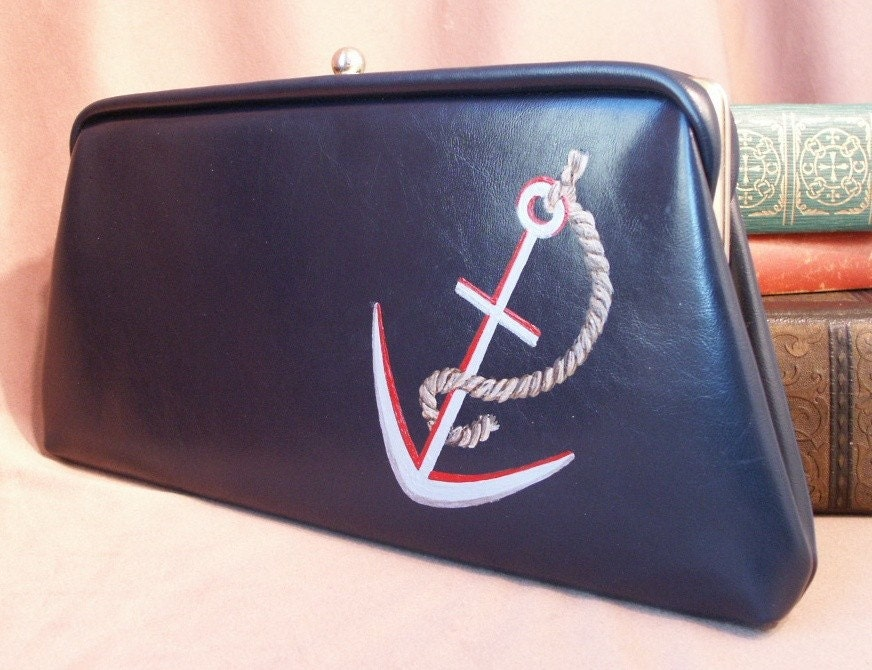 HAND PAINTED Navy Blue Vintage Clutch Purse with ANCHOR Tattoo Inspired