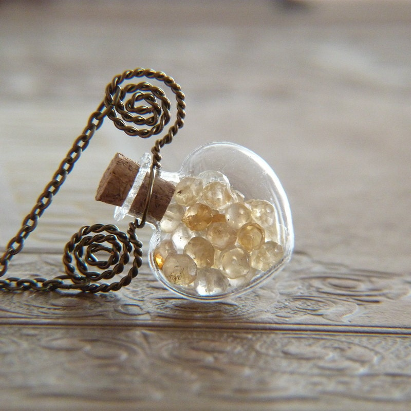 Warm Heart Vial Necklace - Citrine Wire Wrapped Pendant Necklace - Heart Shaped Bottle Necklace - Lightborn