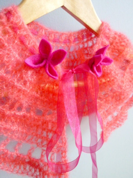 Crochet Lace Bridal Shrug in Honeysuckle with Pink Flower Trim - FREE INTERNATIONAL SHIPPING