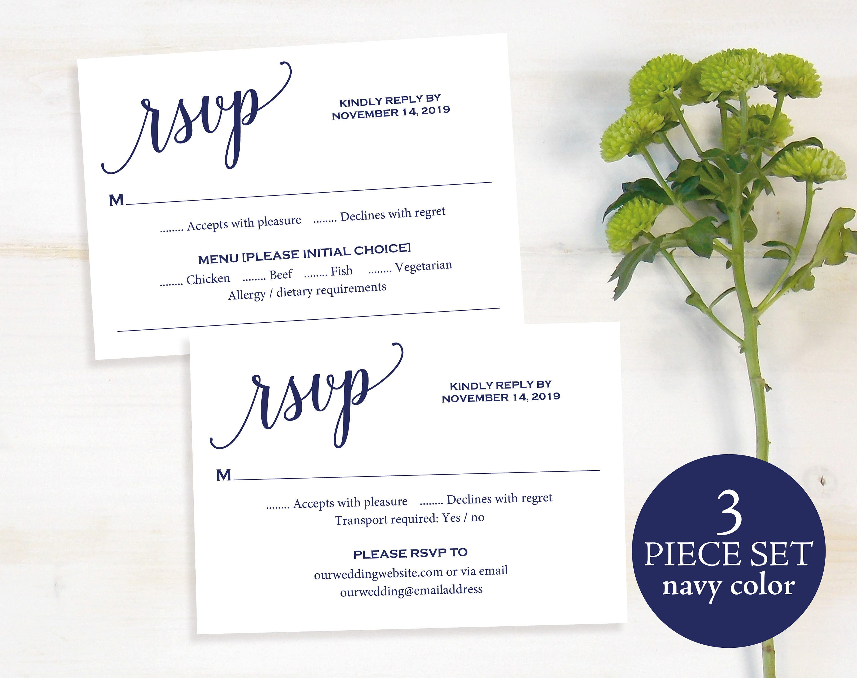 RSVP Card Template rsvp Postcard Wedding Printable Reply Card Navy rsvp Response Card DIY Reply Card PDF Instant Download MM014