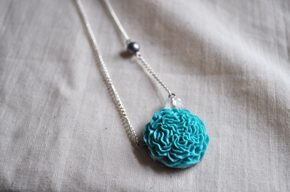 RESERVED for From Under My Little Umbrella GIVEAWAY. turquoise floral ruffle- necklace