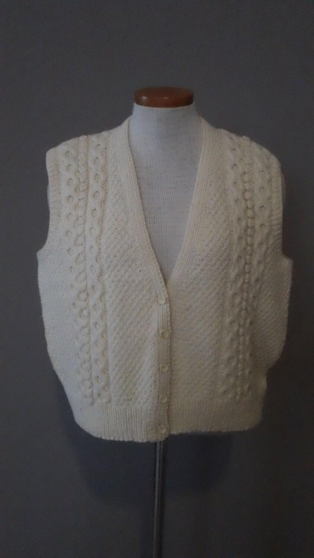 Knitting Patterns Cowl Scarf : Irish Fisherman Cable Knit Wool Winter Sweater Vest by CompanyV