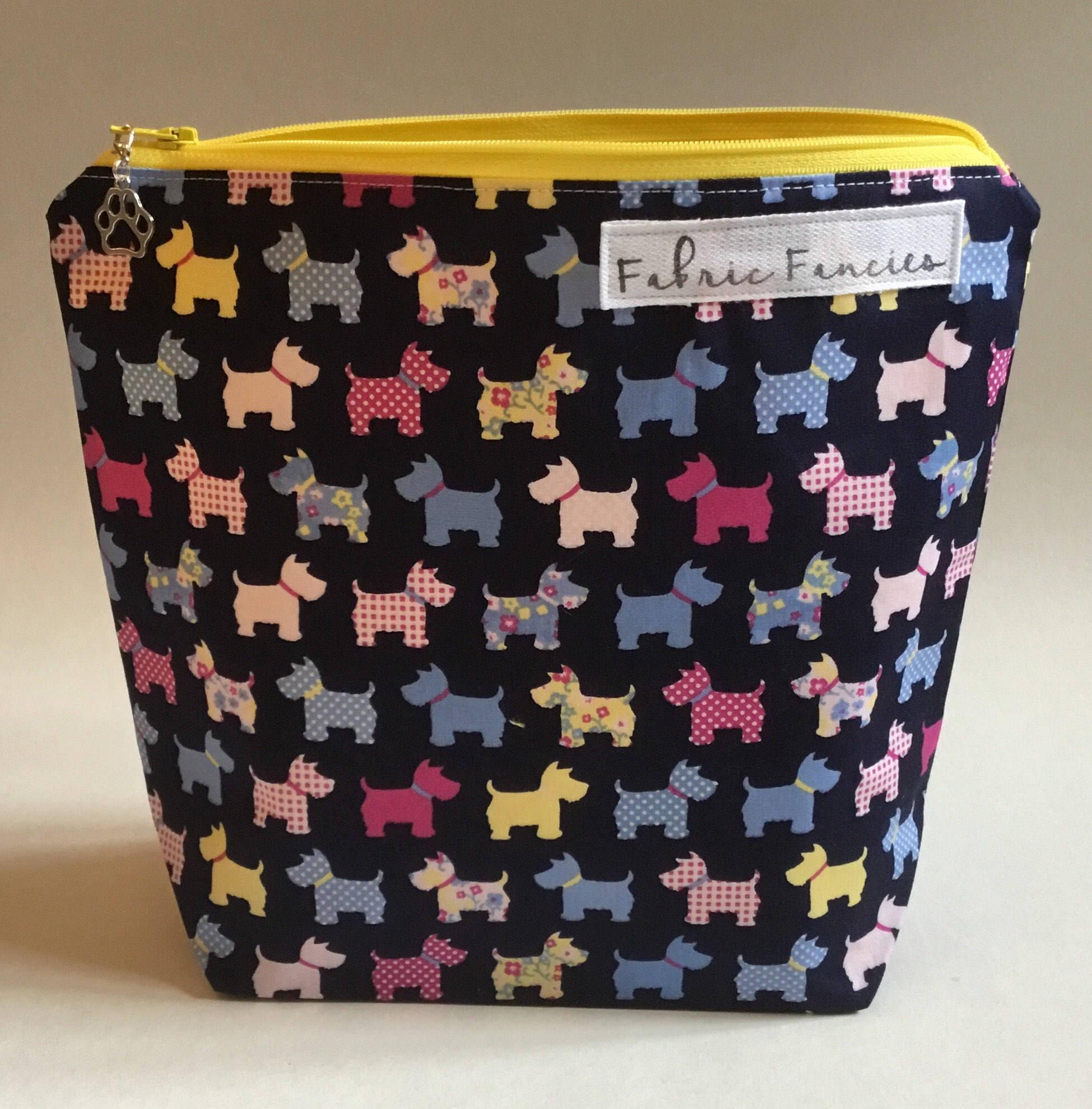 Project bag dog yarn pouch zipper bag cute yarn bag crochet knitting project