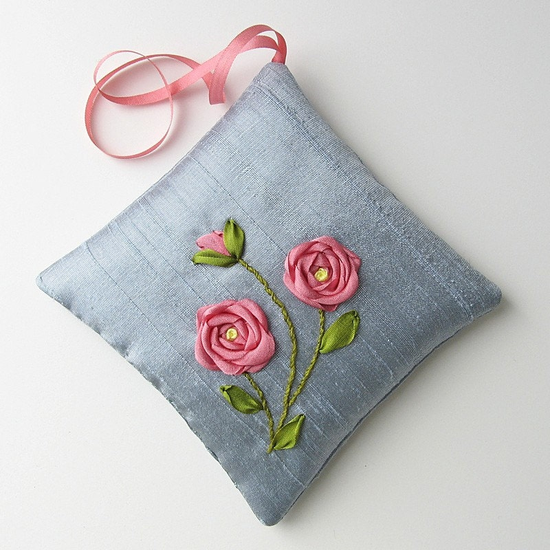 Coral roses lavender sachet silk ribbon embroidery by