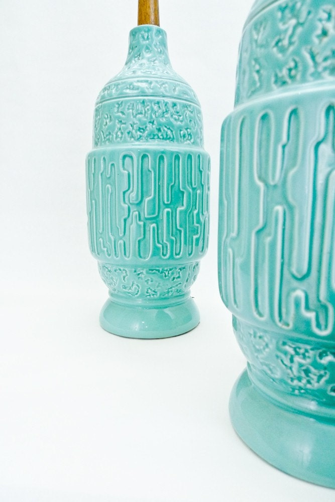 Vintage Pair of Turquoise Lamps