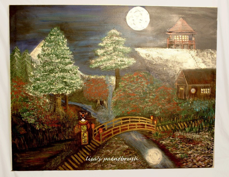 Japanese Relief Donation 325 dollars Japanese night scene Huge Original Painting