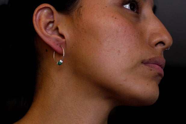 Sterling Silver Hoop Earrings with Shell & Turquoise