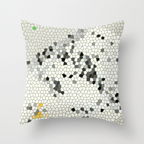 Big Addition - Architectural Abstract, Pillow Cover, 16x16, home decoration, black and white, yellow, graphics, mosaic, modern - BacktoBasicsPillows