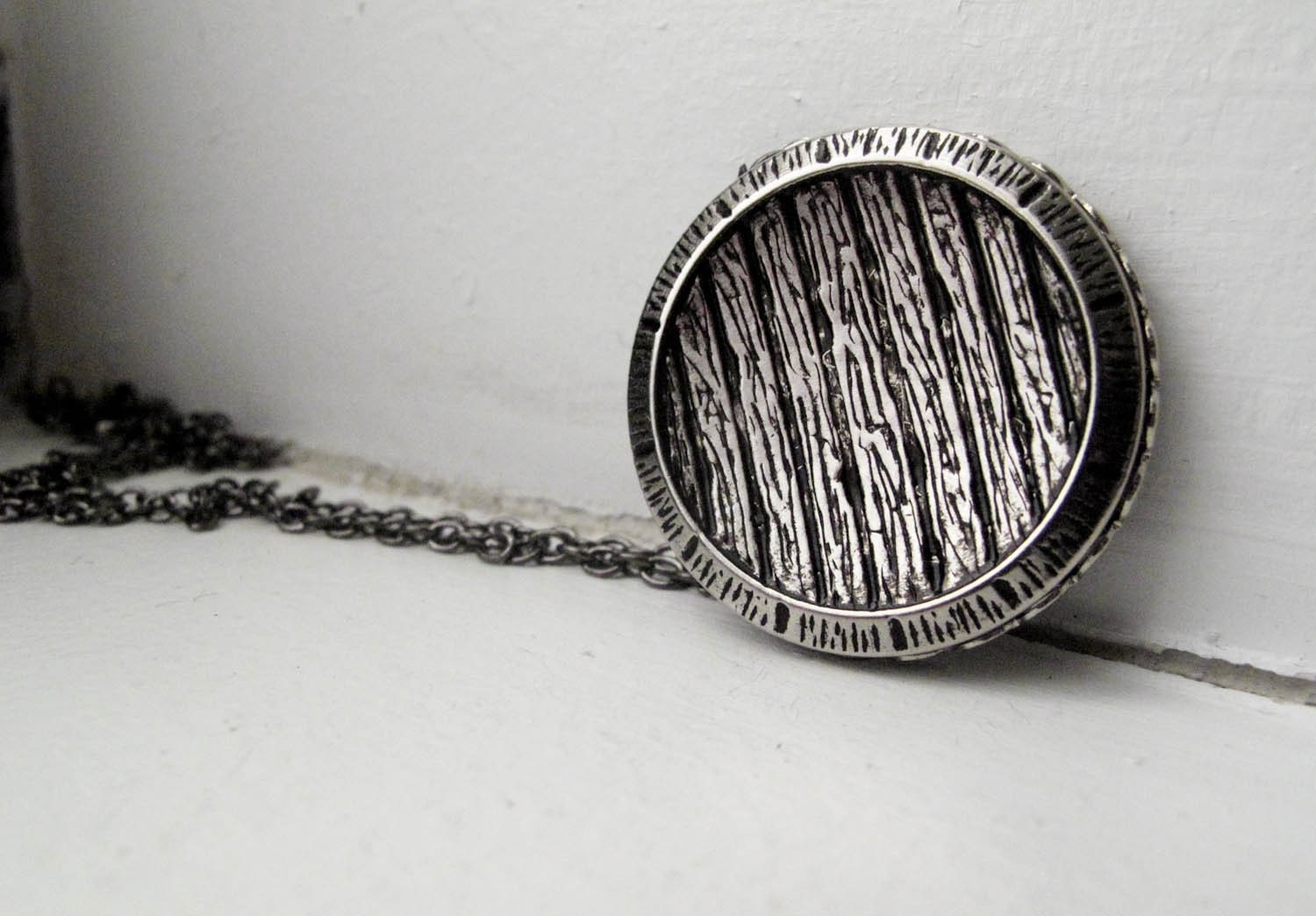 Birch Shadows Necklace in Antique Silver