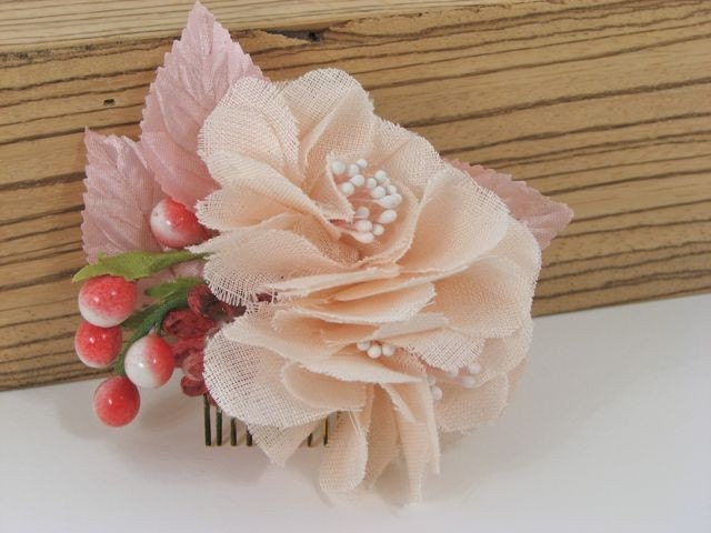 Jacqueline - Delicate Cherry Blossom hand cut linen flowers vintage glass berries