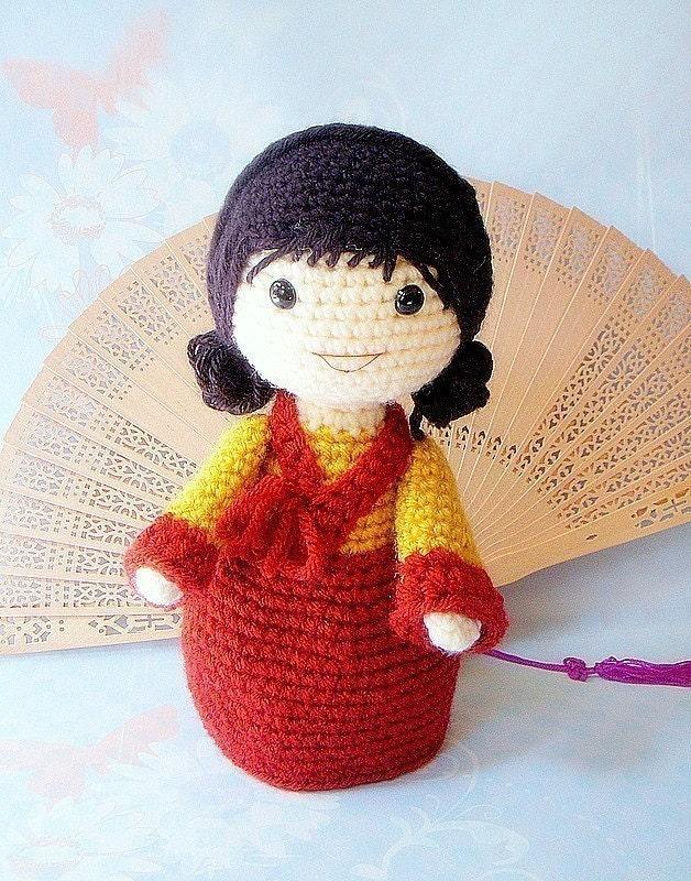 Amigurumi Girl Doll Pattern : Pattern-Mina/Amigurumi Korean girl doll pattern/PDF by ...