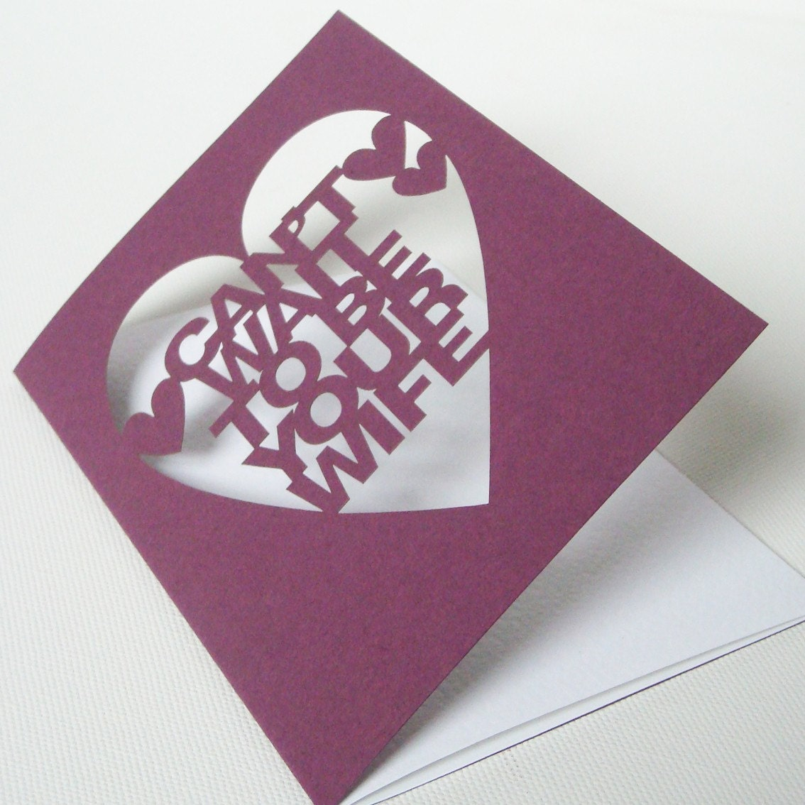 Cut Out Can't Wait to be Your Wife Card Aubergine or White